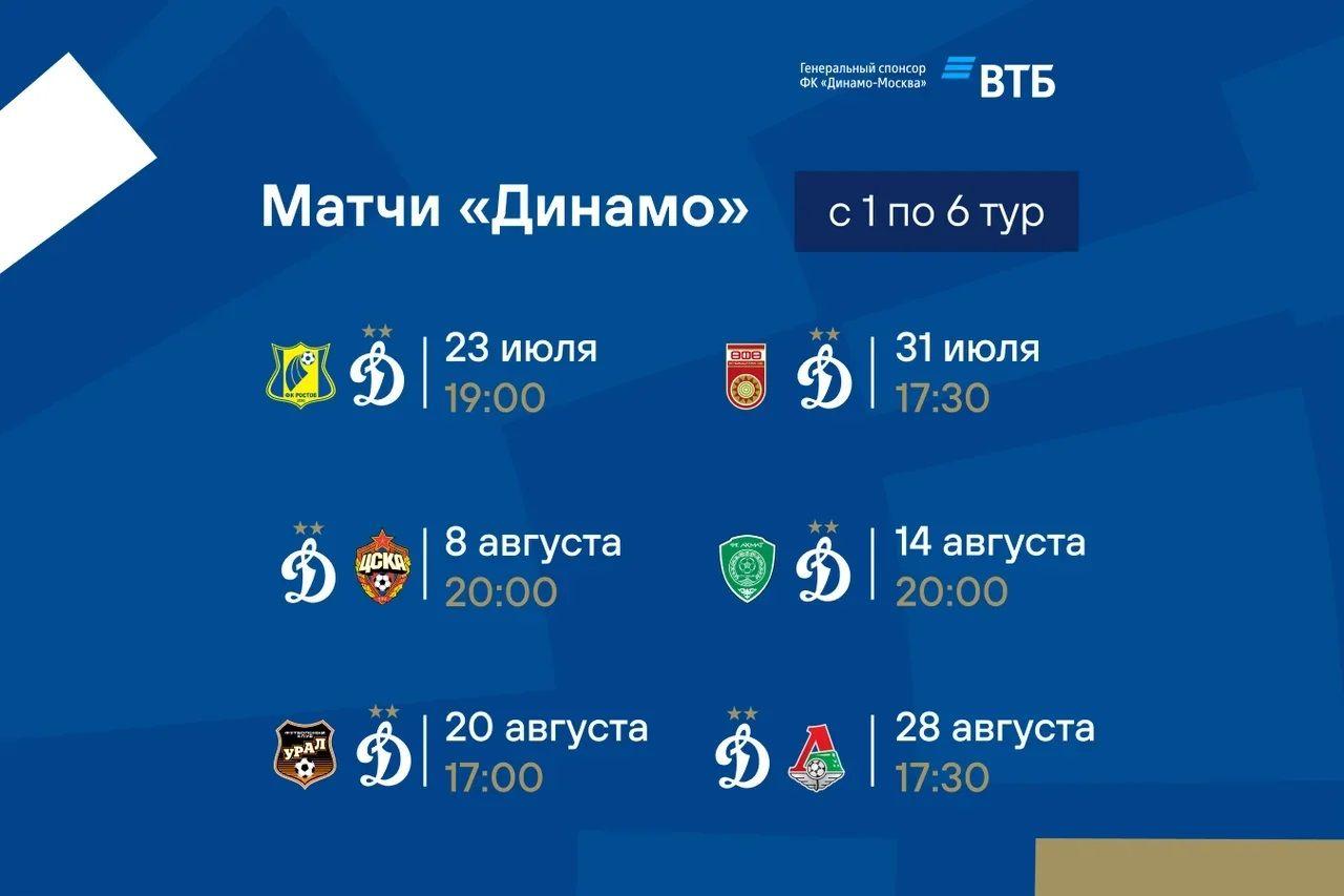 Стали известны даты и время начала матчей первых 6 туров РПЛ сезона-2021/22